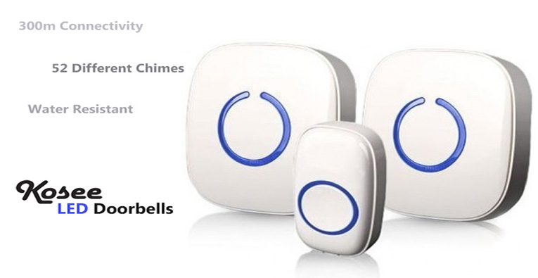 Kosee LED doorbell - 52 different chimes to choose from, water resistance, battery or mains powered.
